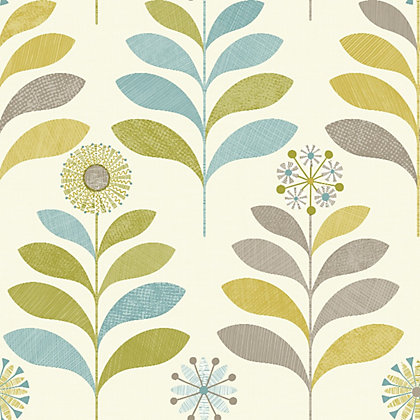 Image for Tamara Teal & Green Floral Wallpaper from StoreName