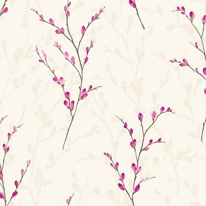 Image for Willow Fuchsia Floral Wallpaper from StoreName