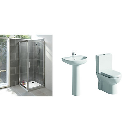 Image for Vitale Spring White & Chrome Bathroom Suite Great Value Pack from StoreName