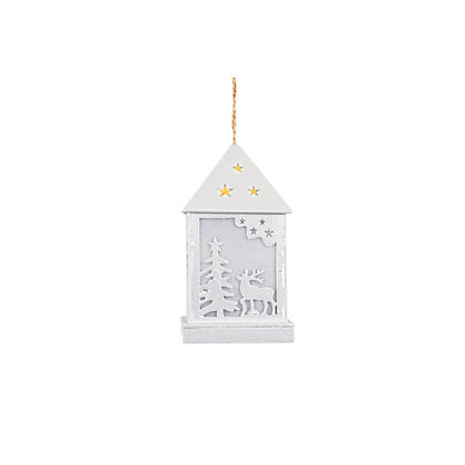 Image for White Wood LED Lantern from StoreName