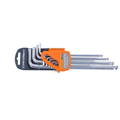Image for Craftright 10 Piece Extra Long Hex Key Set from StoreName