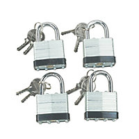 Syneco Laminated Steel Padlock - 4 Pack
