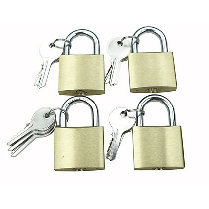 Image for 4 Piece 40mm Brass Padlock Set from StoreName