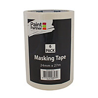 Paint Partner Masking Tape - 24mm x 27m - 6 Pack