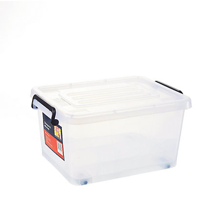13 litre clear plastic storage box with wheels. Black Bedroom Furniture Sets. Home Design Ideas