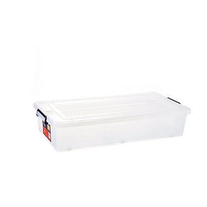 Image for 34L Clear Underbed Plastic Storage Tub from StoreName