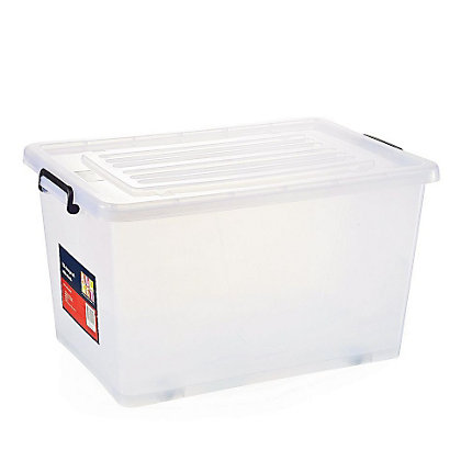 70 litre clear plastic storage box with wheels. Black Bedroom Furniture Sets. Home Design Ideas