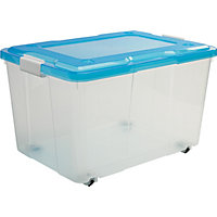 50 Litre Storage Box Blue Lid with Wheels