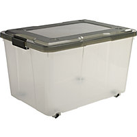 50 Litre Storage Box Grey Lid with Wheels