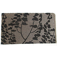 Vinyl Backed Coir Doormat - Leaves