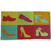 Vinyl Backed Coir Doormat - Shoes