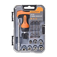 Craftright 18 Piece Mini T-Handle Ratchet Driver Set