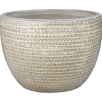 Image for Arrow Small Plant Pot - Burnt Cream from StoreName