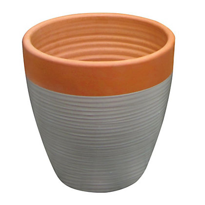 Image for Solstice Medium Plant Pot - Terracotta & Grey from StoreName