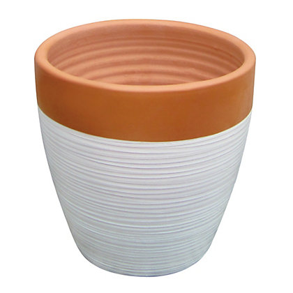 Image for Solstice Large Plant Pot - Terracotta & Cream from StoreName