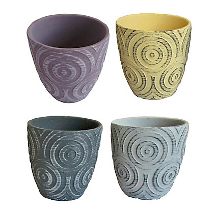 Image for Lotus 15cm Terracotta Swirl Pot - 4 Colours Available from StoreName