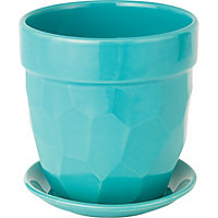 Decorative Ceramic Blue Pot with Saucer