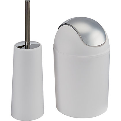 Image for Waste Bin and Toilet Brush Set - White from StoreName