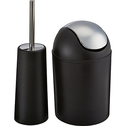 Image for Waste Bin and Toilet Brush Set - Black from StoreName