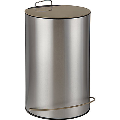 Image for Metal Waste Bin - 13L - Silver and Taupe from StoreName