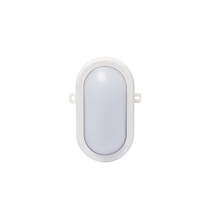 Image for White Oval Integrated LED Bulkhead Light from StoreName
