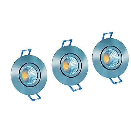 Image for Integrated LED Directional Brushed Chrome Downlights - 3 pack from StoreName