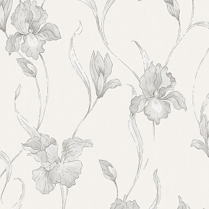 Image for Graham & Brown Heavyweight Vinyl Iris White & Grey Wallpaper from StoreName