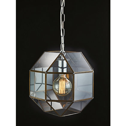 Image for Clear Glass Hexagon Pendant Light from StoreName