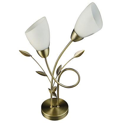Image for Frosted Glass Leaf Table Lamp from StoreName