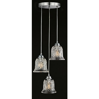 Image for 3 Lamp Cut Glass Pendant Light from StoreName