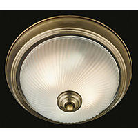 Sanderson Antique Brass Traditional Flush Ceiling Light
