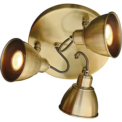 Image for Antique Brass 3 Light Plate Spotlight from StoreName