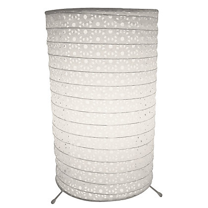 Image for White Cylinder Paper Table Lamp from StoreName