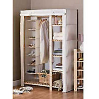 Canvas and Wood Solid Pine Frame Wardrobe - Double