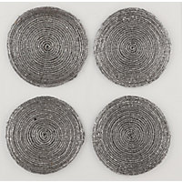 Silver Beaded Coasters Set of 4