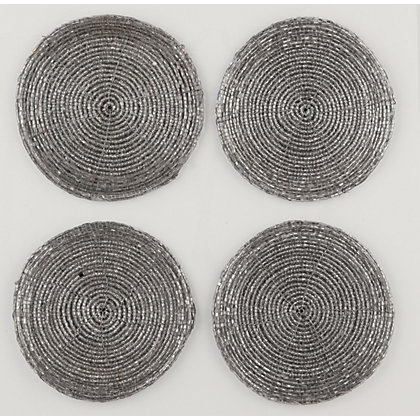 Image for Silver Beaded Coasters Set of 4 from StoreName