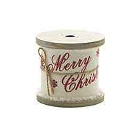 Natural Hessian Christmas Ribbon with Red Print