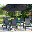 Tempo 6 Seater Folding Metal Garden Furniture Set with Overhang Parasol