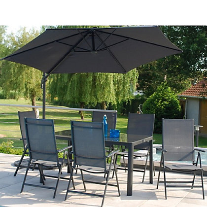 Image for Tempo 6 Seater Folding Metal Garden Furniture Set with Overhang Parasol from StoreName