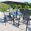 Tempo 6 Seater Stacking Metal Garden Furniture Set with Overhang Parasol