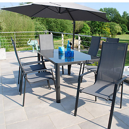 Image for Tempo 6 Seater Stacking Metal Garden Furniture Set with Overhang Parasol from StoreName