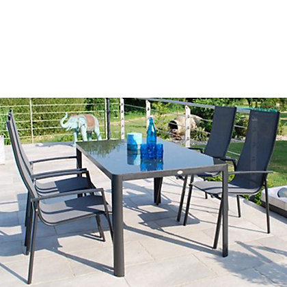 Image for Tempo Aluminium 4 Seater Stacking Garden Furniture Set - Grey from StoreName