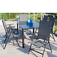 Tempo 6 Seater Folding Metal Garden Furniture Set