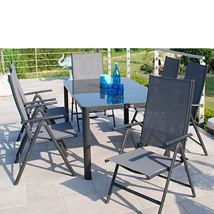 Image for Tempo Aluminium  6 Seater Folding Garden Furniture Set - Grey from StoreName