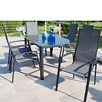 Tempo 6 Seater Stacking Metal Garden Furniture Set