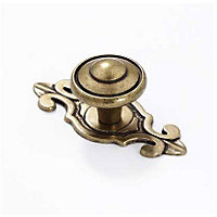 Cabinet Door Knob with Backplate - Antique Brass - 52mm