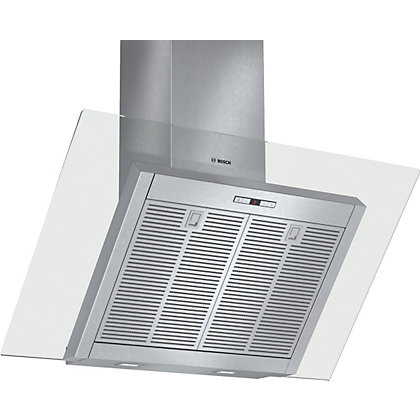 Image for Bosch DWK098E51B Inclined Chimney Hood - Brushed Steel with Glass Canopy - 90cm Wide from StoreName