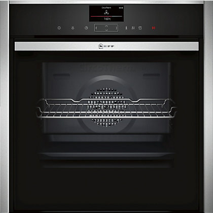 Image for Neff B47FS34N0B Full Steam Multifunction Oven - Black Glass & Stainless Steel from StoreName