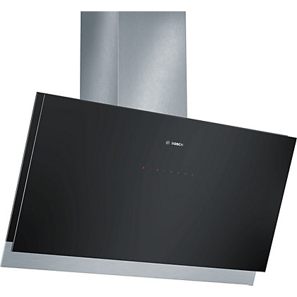 Image for Bosch DWK098G61B Inclined Chimney Hood - Black with Glass Canopy - 90cm Wide from StoreName