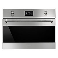 Smeg SFP4390X Classic Black Glass Multi Function Compact Oven - Stainless Steel